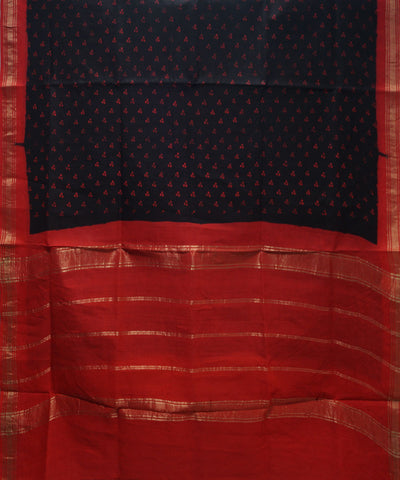 Loom World Sungudi Black and Red Printed Cotton Saree