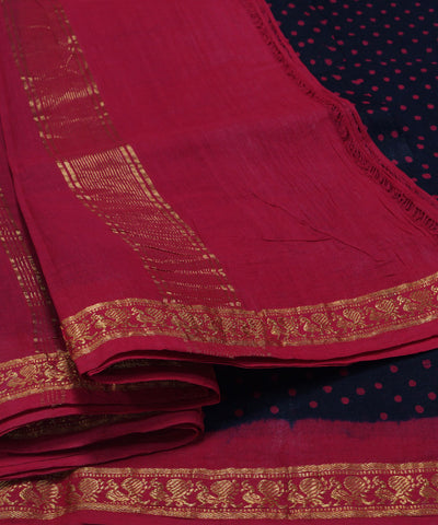 Loom World Sungudi Black and Maroon Printed Cotton Saree