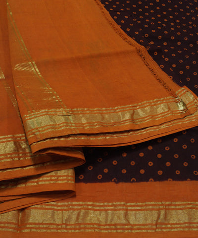 Sungudi Brown Orange Printed Cotton Saree