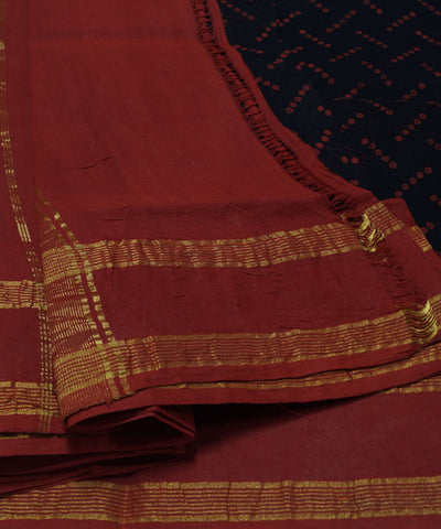 Loom World Sungudi Blue and Red Printed Cotton Saree