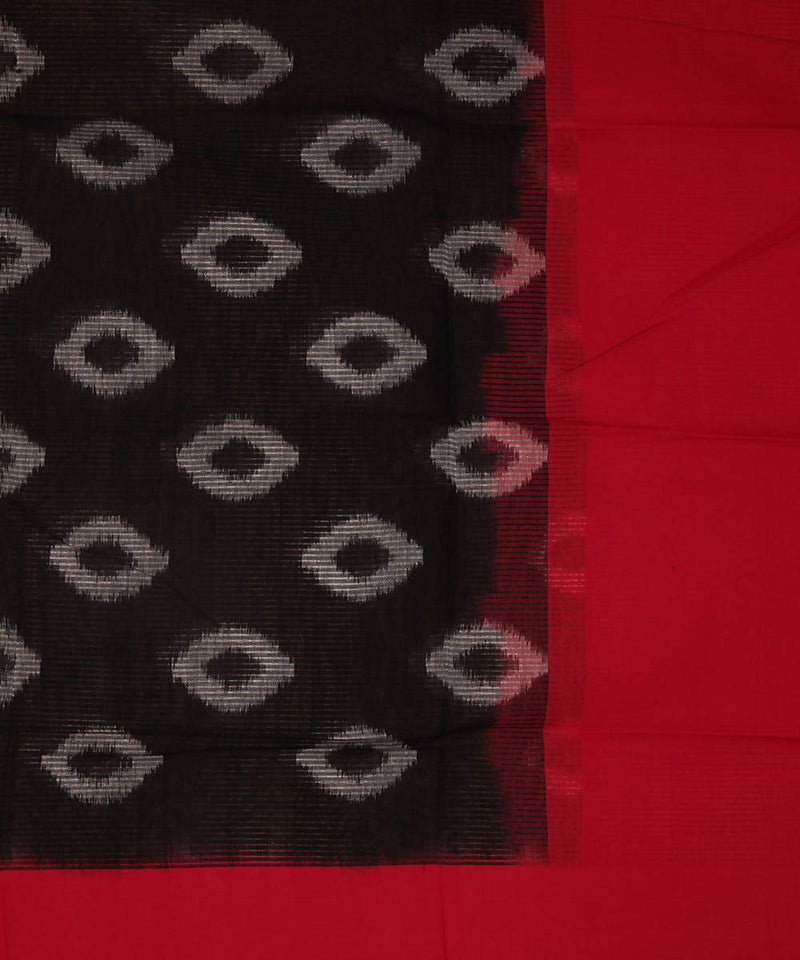 Black and red Handwoven Pochampally ikat cotton Dupatta