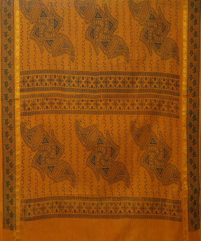 Madurai Sungudi Mustard Orange Cotton Saree