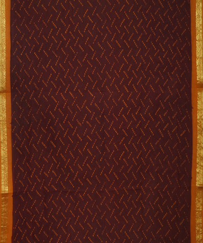 Madurai Sungudi Brown and Orange Cotton Saree
