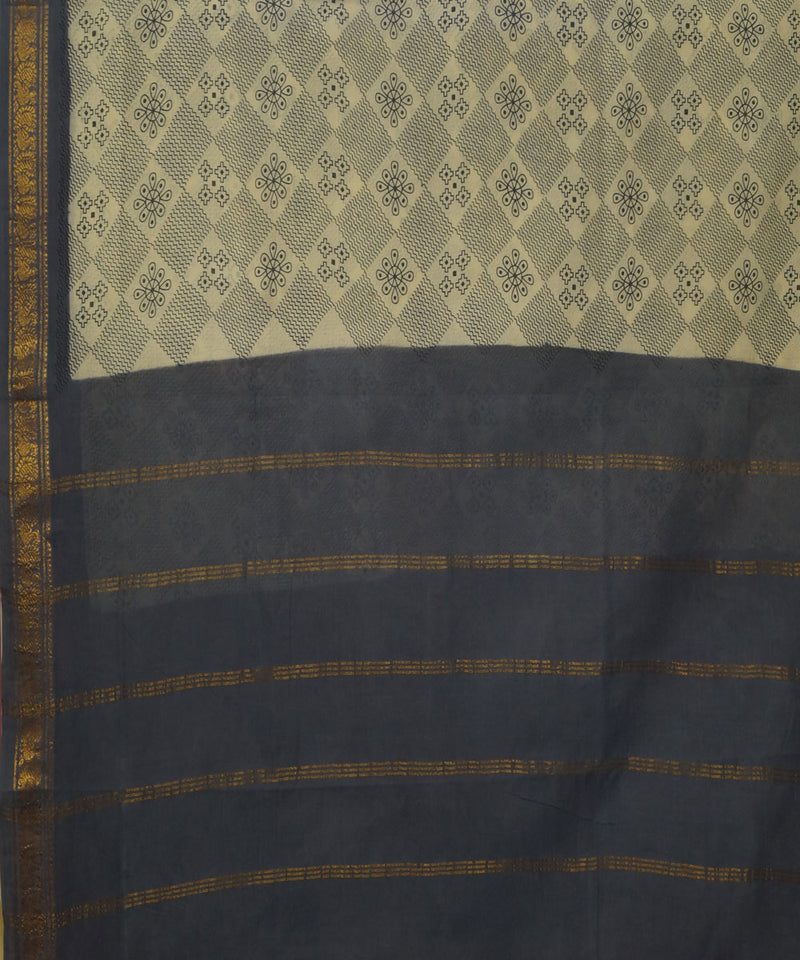 Madurai Sungudi Cream and Blue Cotton Saree