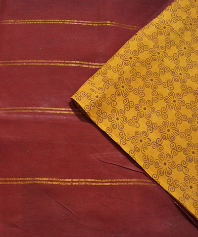 Madurai Sungudi Yellow Maroon Cotton Saree