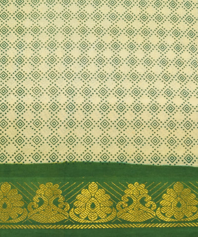 Madurai Sungudi Cream and Green Cotton Saree