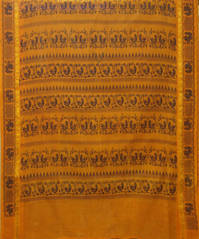 Madurai Sungudi Green and Brown Cotton Saree