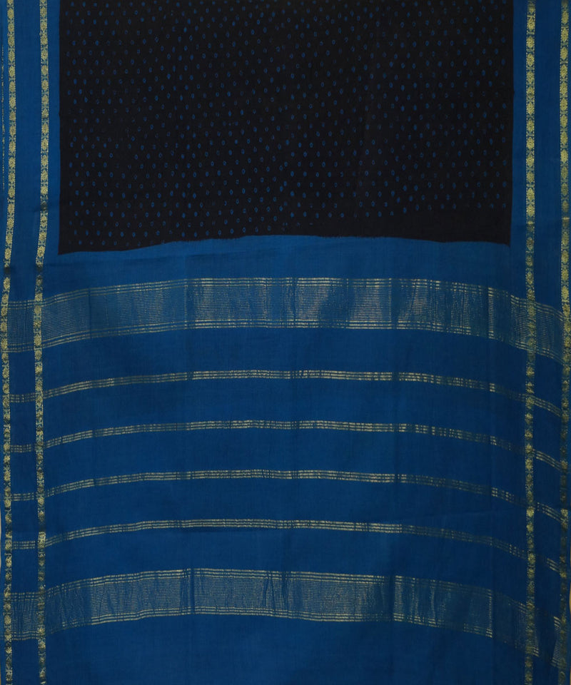 Madurai Sungudi Blue and Black Cotton Saree