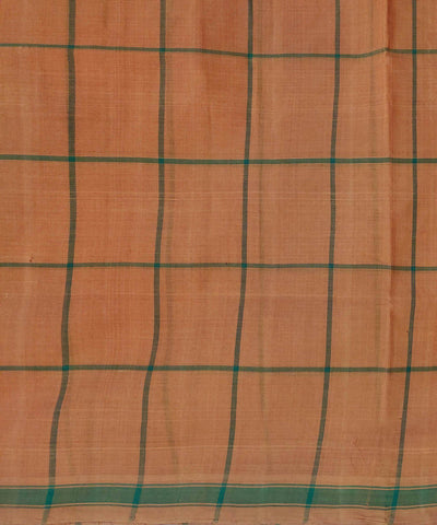 Orange brown Handwoven Cotton checks Butta Work saree