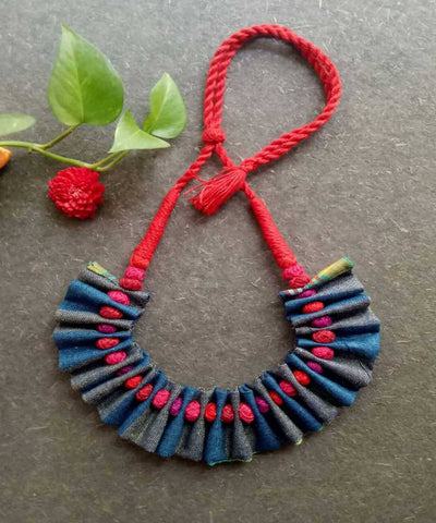 Blue grey handwoven fabric choker necklace
