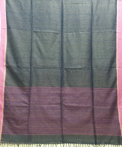 navy grey and pink handspun handwoven cotton bengal saree