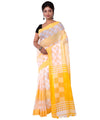 White Yellow Cotton Bengal Handloom Saree