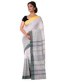 Bengal Handloom White and Green Cotton Saree