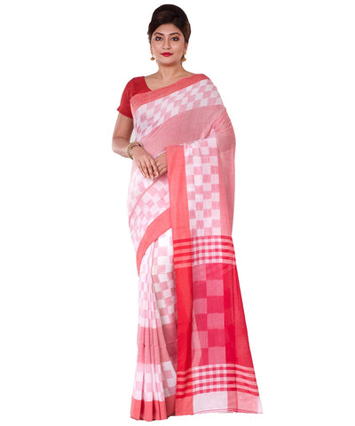 Bengal Handloom White Red Cotton Saree