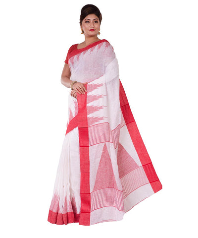 White Red Bengal Handloom Cotton Saree