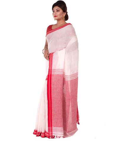 White Red Bengal Handwoven Cotton Saree