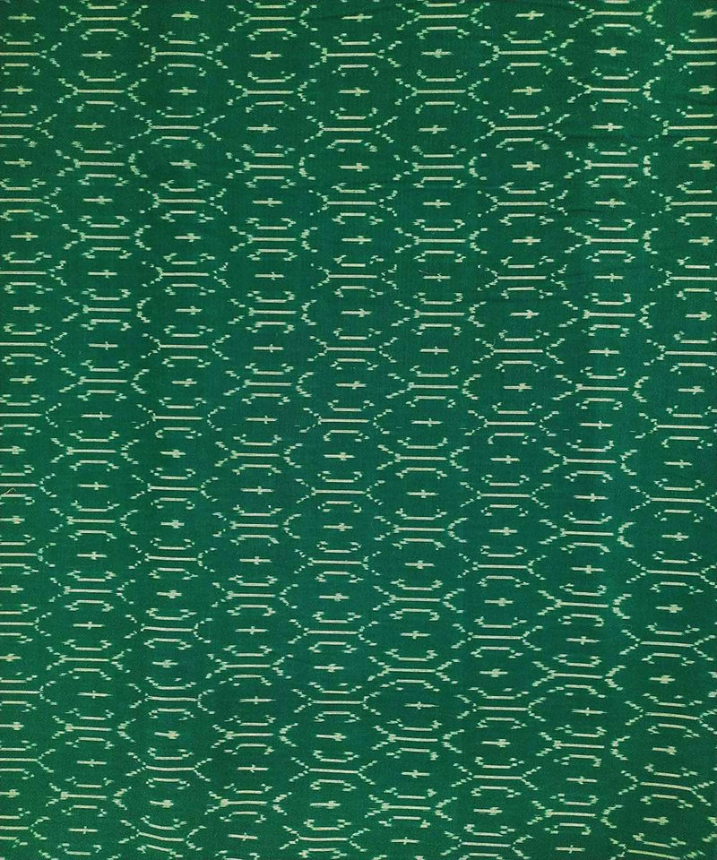 Forest green and white cotton Handwoven Pochampally Ikat Fabric