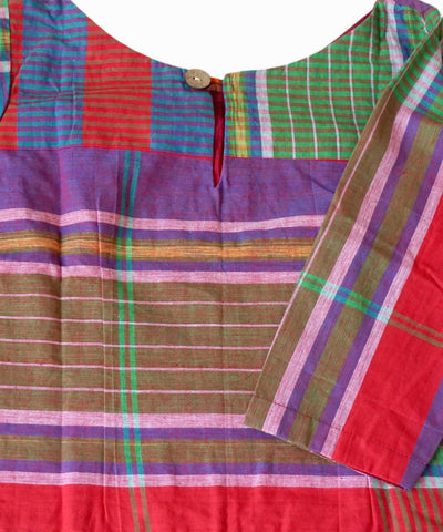 Multicolor Gamcha Checks Cotton Handloom Crop Top Blouse