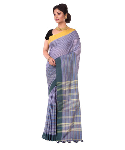 Grey Stripe Bengal Handloom Cotton Saree