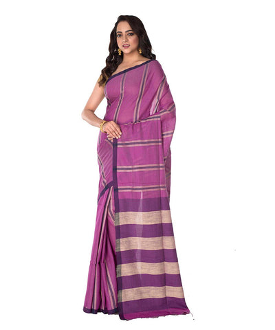 Purple Stripe Bengal Handloom Saree