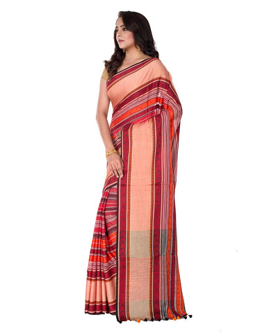 Red Stripe Bengal Handloom Cotton Saree