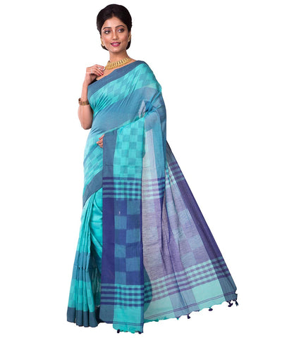 Blue Handwoven Bengal Handloom Cotton Saree