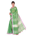 Green Checks Bengal Handloom Linen Saree