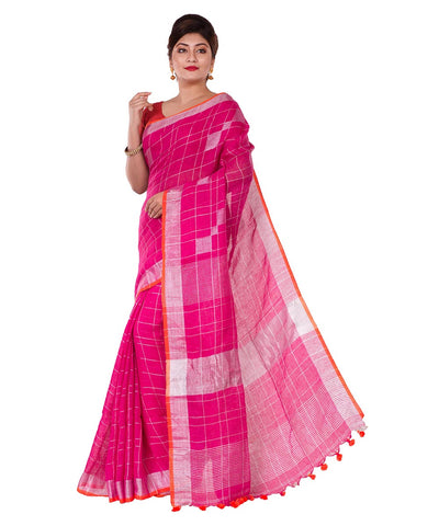 Pink Checks Bengal Handloom Linen Saree