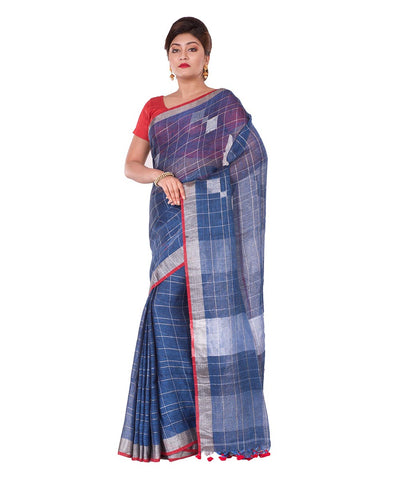 Blue Checks Bengal Handloom Linen Saree