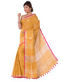 Yellow Orange Bengal Handloom Linen Saree