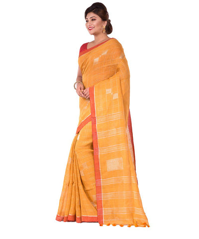 Bengal Handloom Yellow Orange Linen Saree