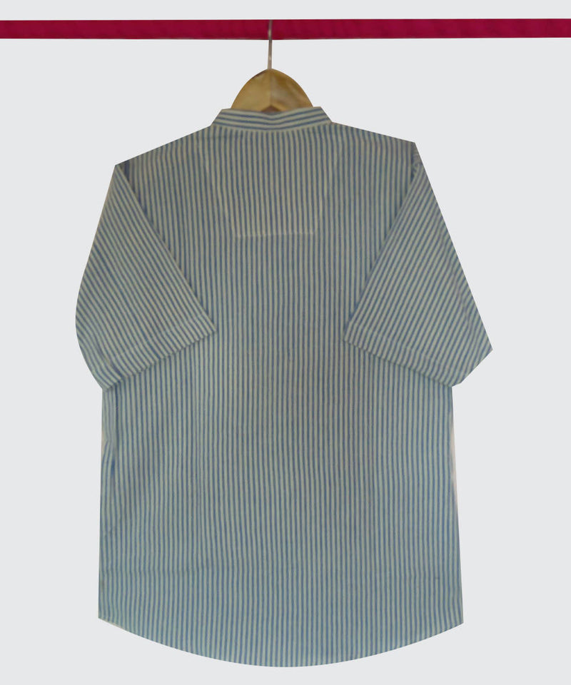 Handspun Handwoven Cotton Blue White Stripe Half Sleeve Shirt