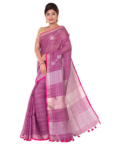 Purple Check Bengal Handloom Linen Saree