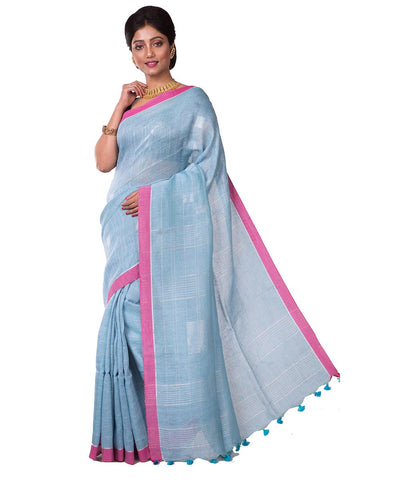 Handwoven Blue Bengal Linen Saree