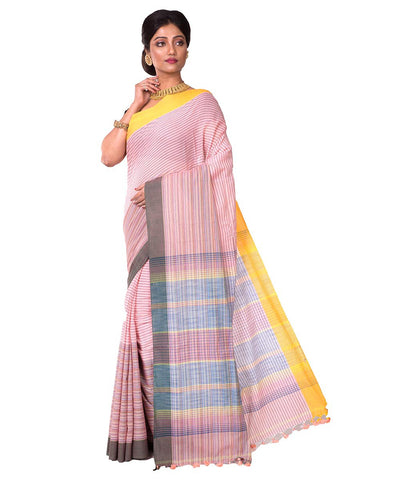 Bengal Handloom Pink Stripe Cotton Saree