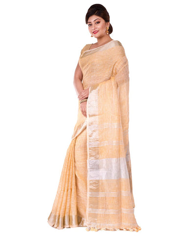 Bengal Handloom Pale Orange Linen Saree