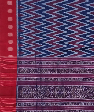 Blue and Red Nuapatna Handwoven Cotton Saree