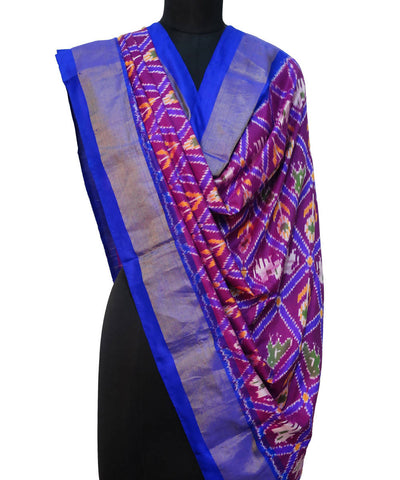 Purple Blue Handloom Ikkat Silk Dupatta