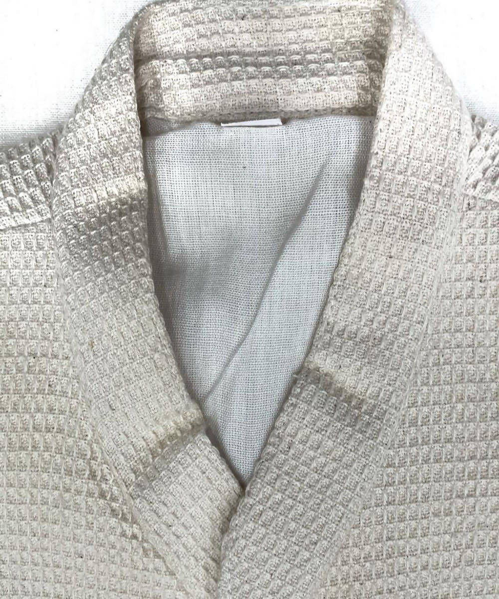 Offwhite handwoven cotton nehru jacket for men