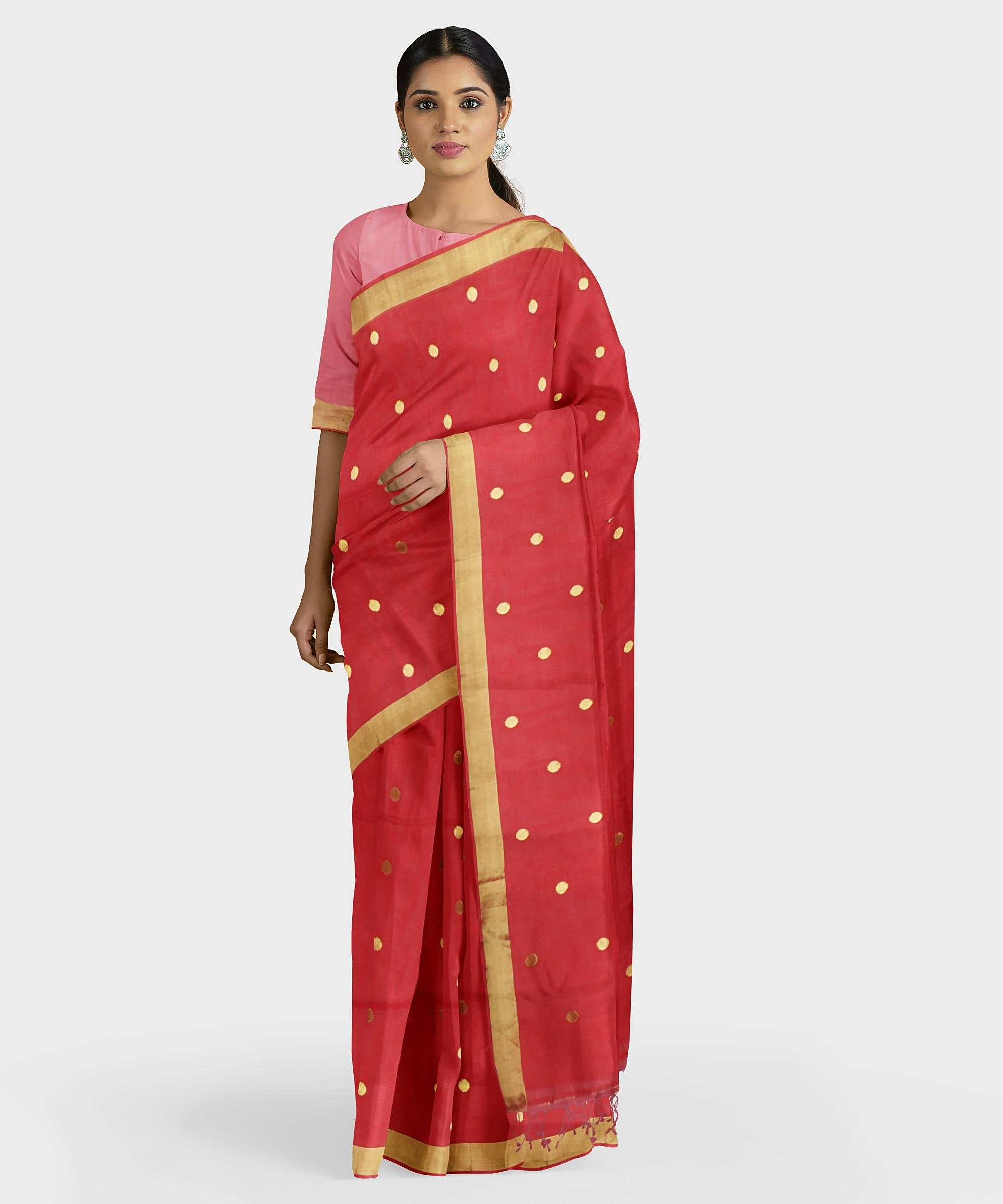 Biswa bangla handwoven red tangail silk saree
