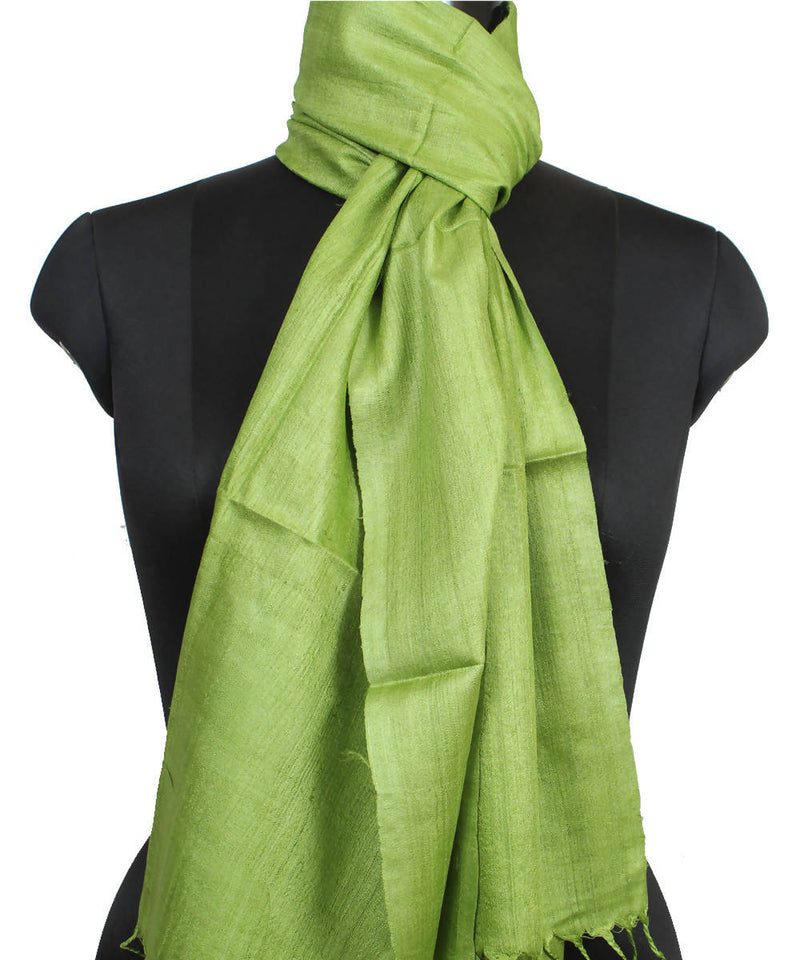 Lime Green Handloom Tussar Silk Stole