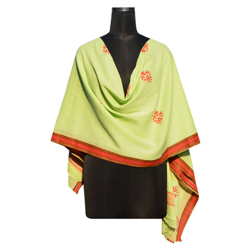 Green handspun handwoven floral block printed cotton dupatta