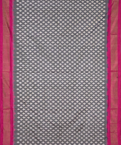 White Grey Handloom Pochampally Silk Saree