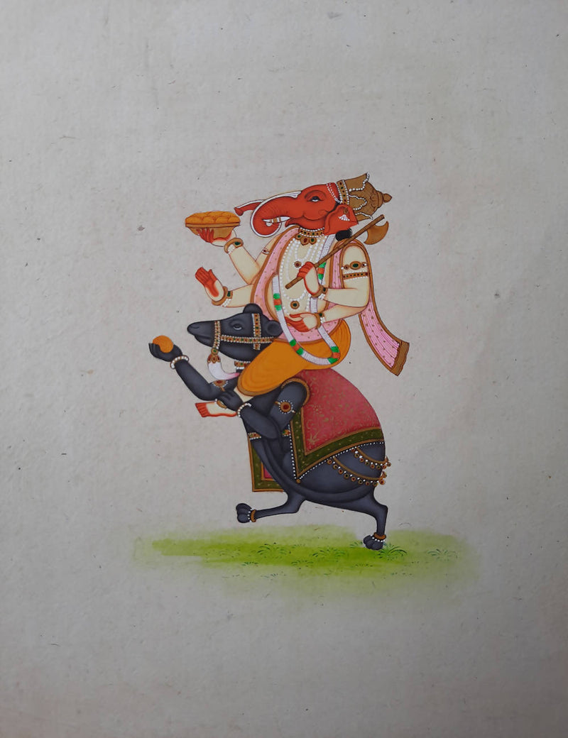 Ganesha hand made miniature painting on handmade paper