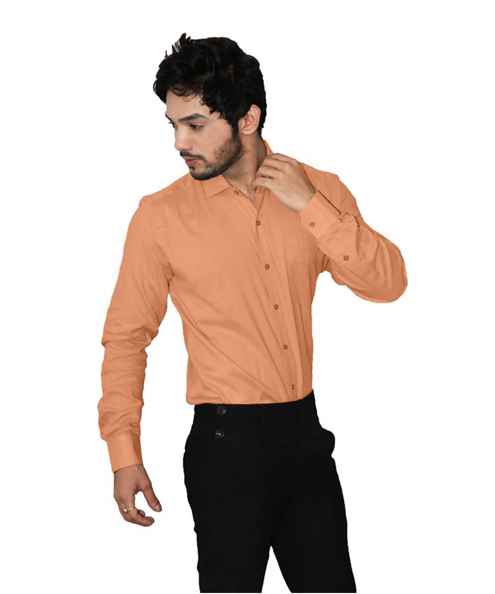 Orange color handspun handwoven cotton shirt