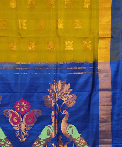 Lime Navy Blue Khadi Handloom Silk Saree