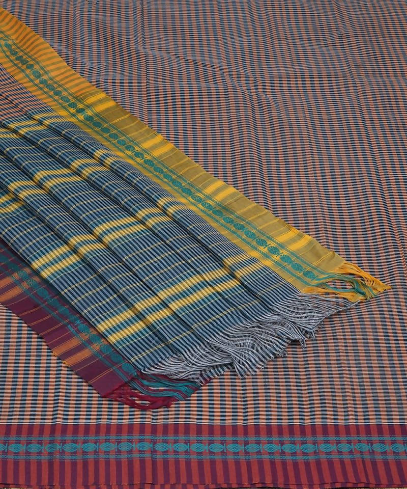 Handloom Check Narayanpet Cotton Saree