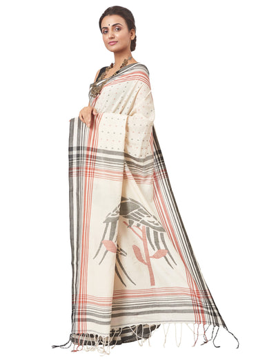 Biswa Bangla Women's Handloom Herbal Dyed Cotton Saree