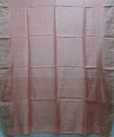 peach handwoven Matka silk saree with zari boarder