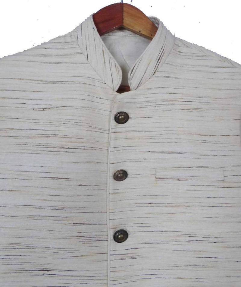 Offwhite Handwoven Sleeveless Tussar Silk Jacket